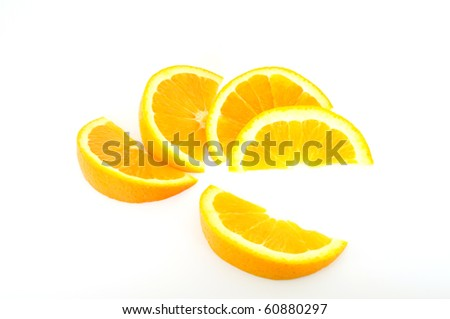 orange slices fanned out isolated on white - stock photo