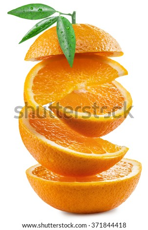 Orange slices on white background. File contains clipping paths.