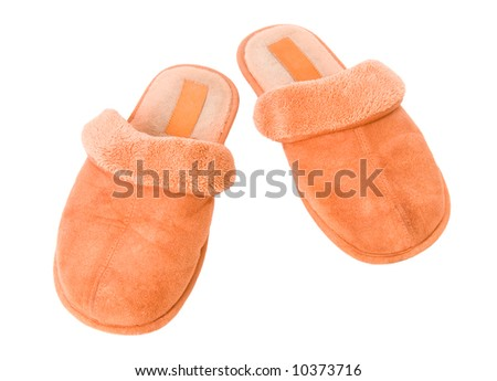 Orange slippers. Isolated on white. - stock photo