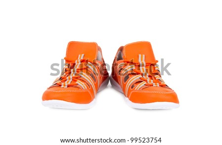 orange sneakers isolated on white background