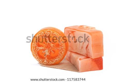 Orange soap isolated on white background - stock photo