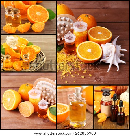 Orange spa compositions in collage - stock photo