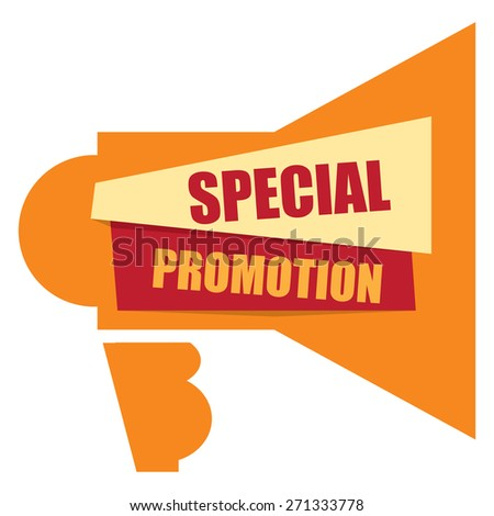 Orange Special Promotion Megaphone Banner, Sign, Label or Icon Isolated on White Background - stock photo