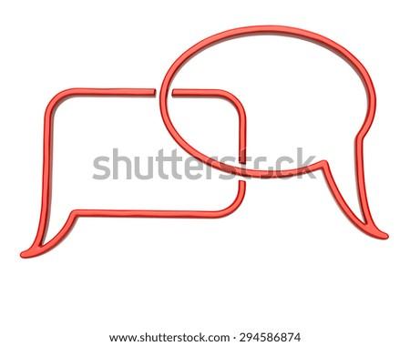 Orange speech bubbles icon  - stock photo