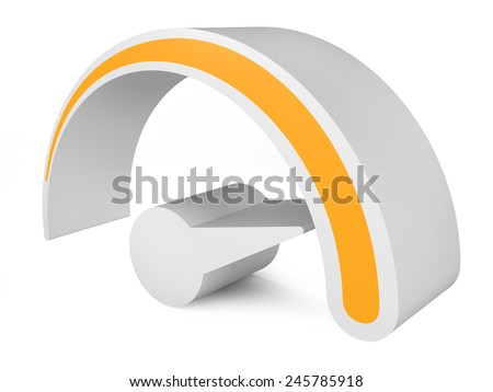 Orange speedometer. Abstract 3d symbol of speed. template for you design - stock photo