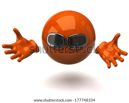 Orange sphere with sunglasses and open arms