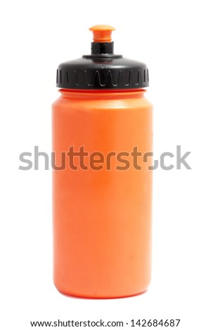 orange sport plastic water bottle on white