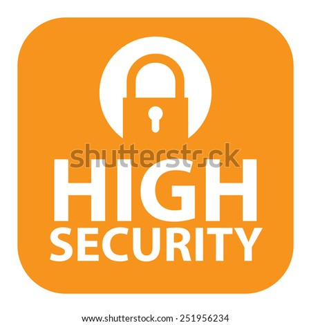 Orange Square High Security Icon, Sign, Sticker or Label Isolated on White Background  - stock photo