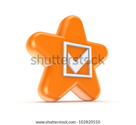 Orange star with a white tick mark.Isolated on white background.3d rendered. - stock photo