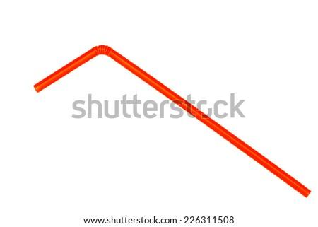 Orange straw on white background - stock photo