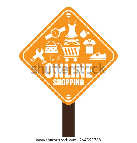 Orange Street Sign With Group of Online Shopping Icon Isolated on White Background - stock photo