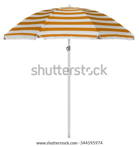 Orange striped beach umbrella isolated on white. Clipping path included. - stock photo