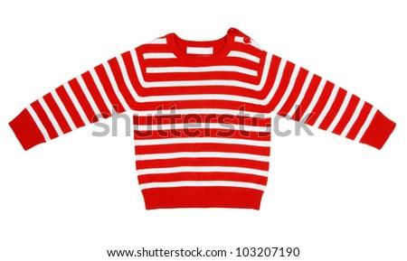 orange striped sweater for children on a white background - stock photo