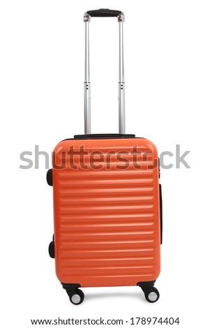 orange suitcase isolated on white background - stock photo
