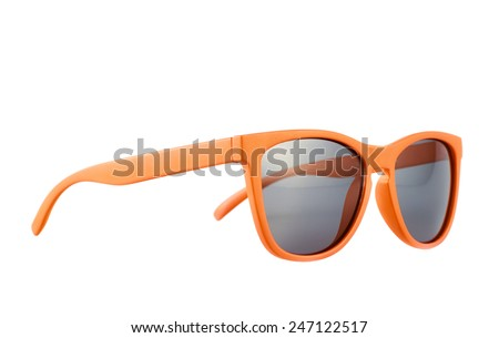 Orange sun glasses isolated over the white background