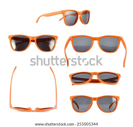 Orange sun glasses isolated over the white background, set of six different foreshortenings - stock photo