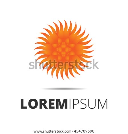 Orange Sun Rays Logo Template Stock Illustration 454709590 ...