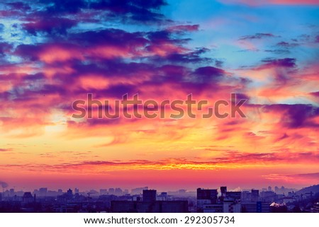 Orange sunset and cloud over cityscape Kiev, Ukraine, Europe - stock photo