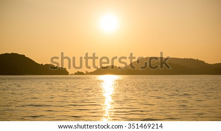 Orange sunset in Langkawi - stock photo