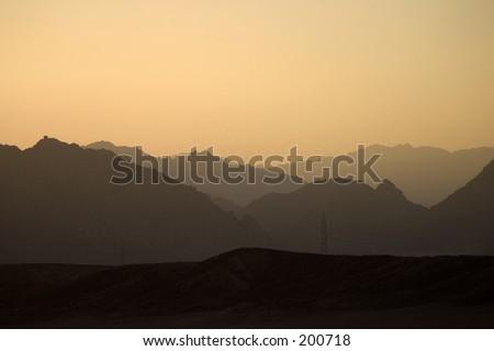 Orange sunset, Sinai, Egypt - stock photo