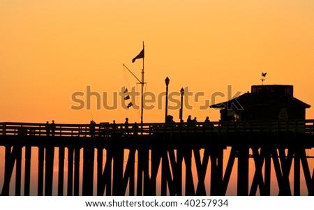 Orange Sunset Skies - stock photo