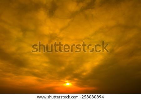 orange sunset sky. - stock photo