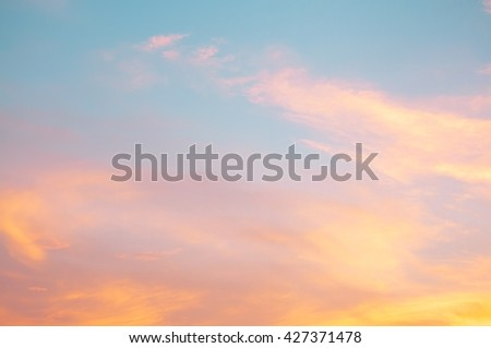 Orange sunset sky. Beautiful natural of sky abstract or background. Soft sky image. - stock photo