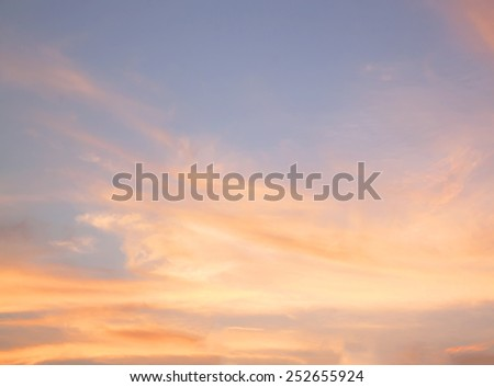 orange sunset sky. Beautiful sky. - stock photo
