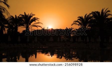 Orange Sunset With Palm Trees and Sun Reflection on Water. Palm Trees Silhouetted In Bright Orange Sky Sunset. Idyllic tropical sunset.  Travel Destination. Summer Resort. - stock photo
