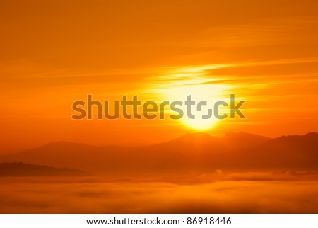 orange sunset with sun at horizon