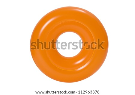 Orange swimming ring or life bouy on a white background. Clipping path included.