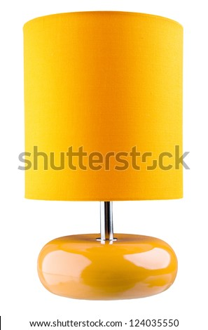 Orange table lamp isolated on white background - stock photo