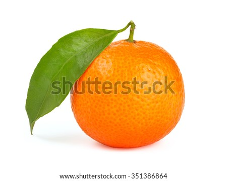 Orange tangerine with leaf isolated on white background