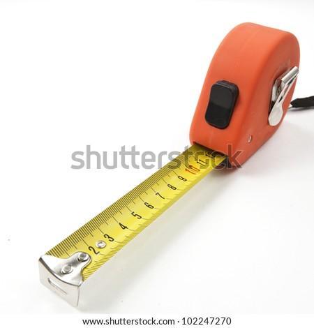 Orange Tape measure isolated on white background - stock photo