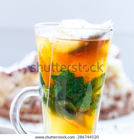 orange tea with mint