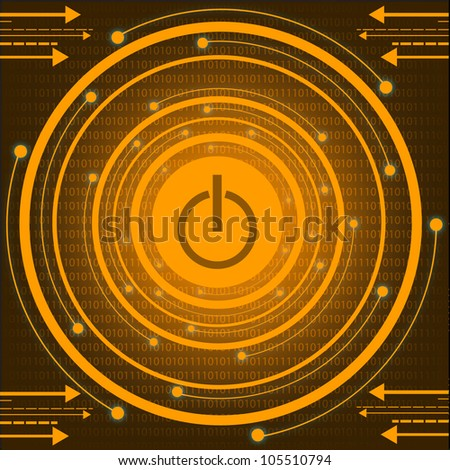 Orange Technology With Power Button. Eps Version Also Available In Gallery. - stock photo