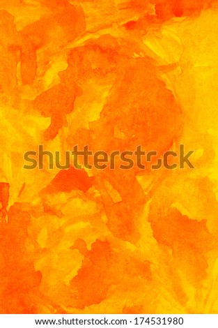 Orange texture watercolor background. Color abstract aquarelle backdrop picture. Paintbrush hand made technique. Blank art image of vertical format - stock photo