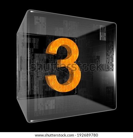 Orange three in a transparent design box