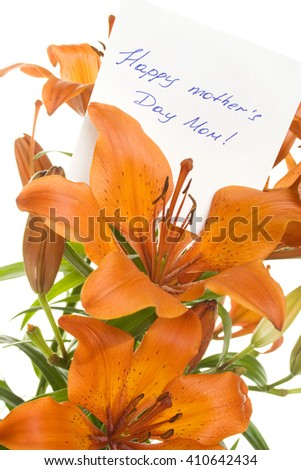 Orange tiger lily isolated on white background. In the color card To Mom - stock photo