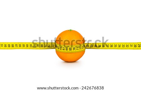 orange tightened measuring tape on a white background. concept of diet - stock photo