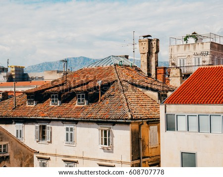 Orange tiles on the roof. Croatian architecture.