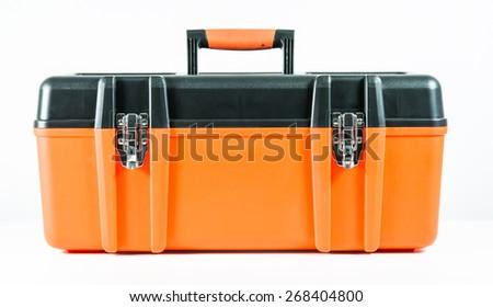 Orange toolbox isolated on over white background - stock photo