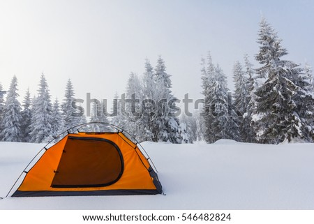 orange touristic tent among a winter snowbound forest