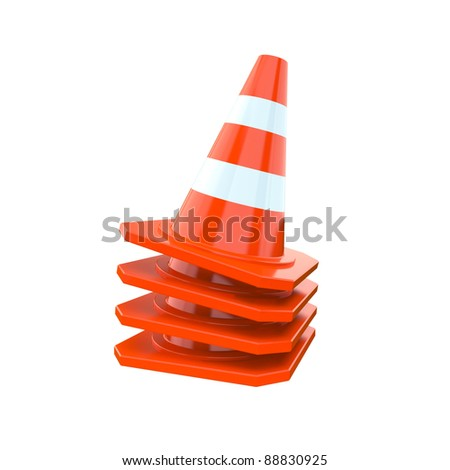 Orange traffic cones isolated on a white background - stock photo