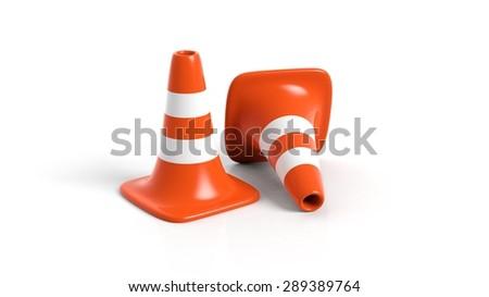 Orange traffic cones isolated on white background  - stock photo