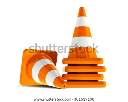 Orange traffic cones on a white table represents work in progress, three-dimensional rendering - stock photo