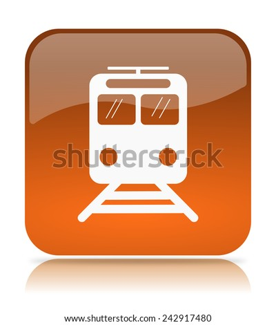 Orange Train App Icon Illustration on White Background - stock photo