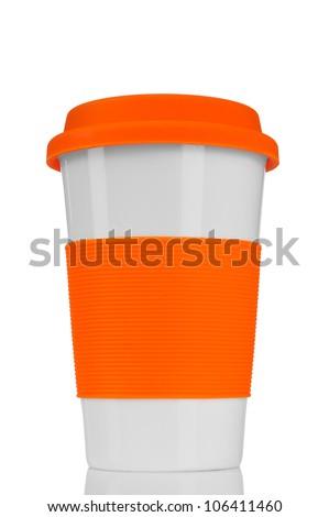 orange travel mug isolated on white - stock photo