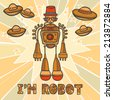 Orange trendy robot hipster retro humanoid with mustaches and space background design poster  illustration - stock photo