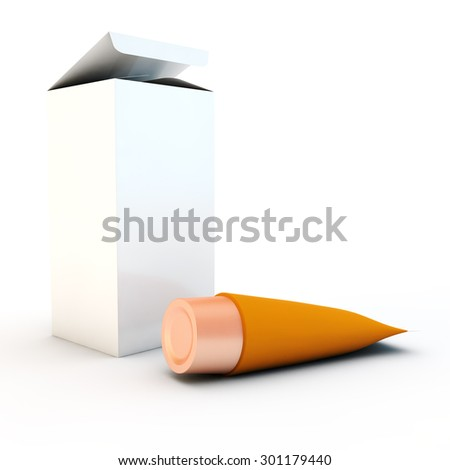 orange tube for cream or toothpaste near cardboard packing - stock photo